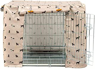 """Lords & Labradors Cosmopolitan Dog Oilcloth Dog Crate Cover to fit Midwest iCrate and Similar Sized Dog crates XL (42"""") Blue"""