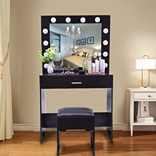 Ship from USA!! Vanity Mirror with 12 LED Lights and Table Set - Double Storage Drawers Makeup Dressing Desk with Cushioned Stool Set(Black Walnut)