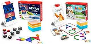Osmo - Genius Starter Kit for iPad (New Version) (Ages 6-10 ) + Little Genius Starter Kit for iPad - 4 Hands-On Learning Games Bundle (Preschool Ages) iPad Bases Included