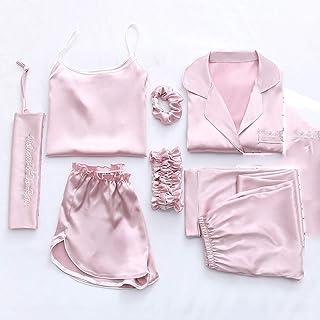 SZTB Pijama de Siete Piezas para Mujer, Primavera y otoño,