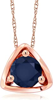 Gem Stone King 10K Rose Gold 0.60 Ct Round Blue Sapphire Pendant with Chain