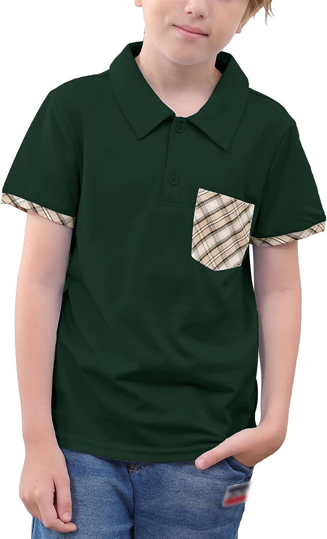 NAVINS Boy's Short Sleeve School Uniform Plaid Contrast Solid Pique Polo Shirts for 4-14T Kids
