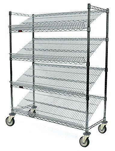 "Eagle Slanted Shelf Wire Cart,18"" Wx36 L, Silver"