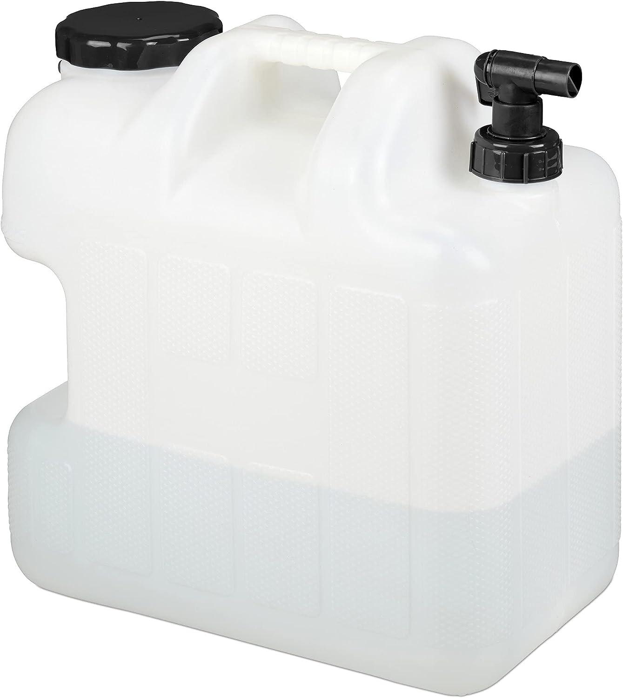 Relaxdays Garrafa con Grifo, 25 litros, Plástico sin BPA, Tapón de Cuello Ancho, Asa, Bidón Acampadas, Blanco y Negro