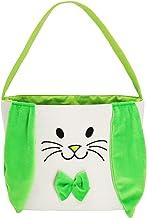 Easter Bunny Baskets Easter Bag Bucket for Easter Egg Hunt Stuffers with Fluffy Ears for Kids (Green)