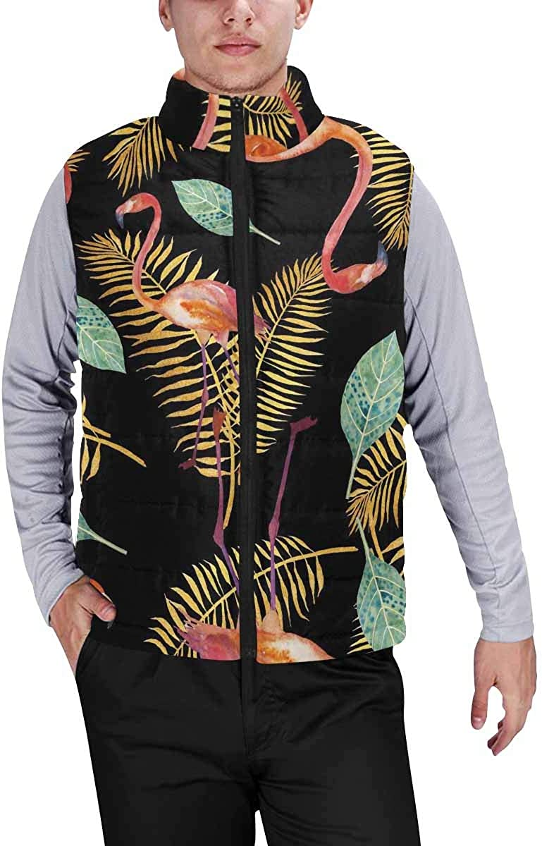 InterestPrint Men's Lightweight Keep Warm Puffer Vest for Outdoor Tropical Flowers and Paradise Birds