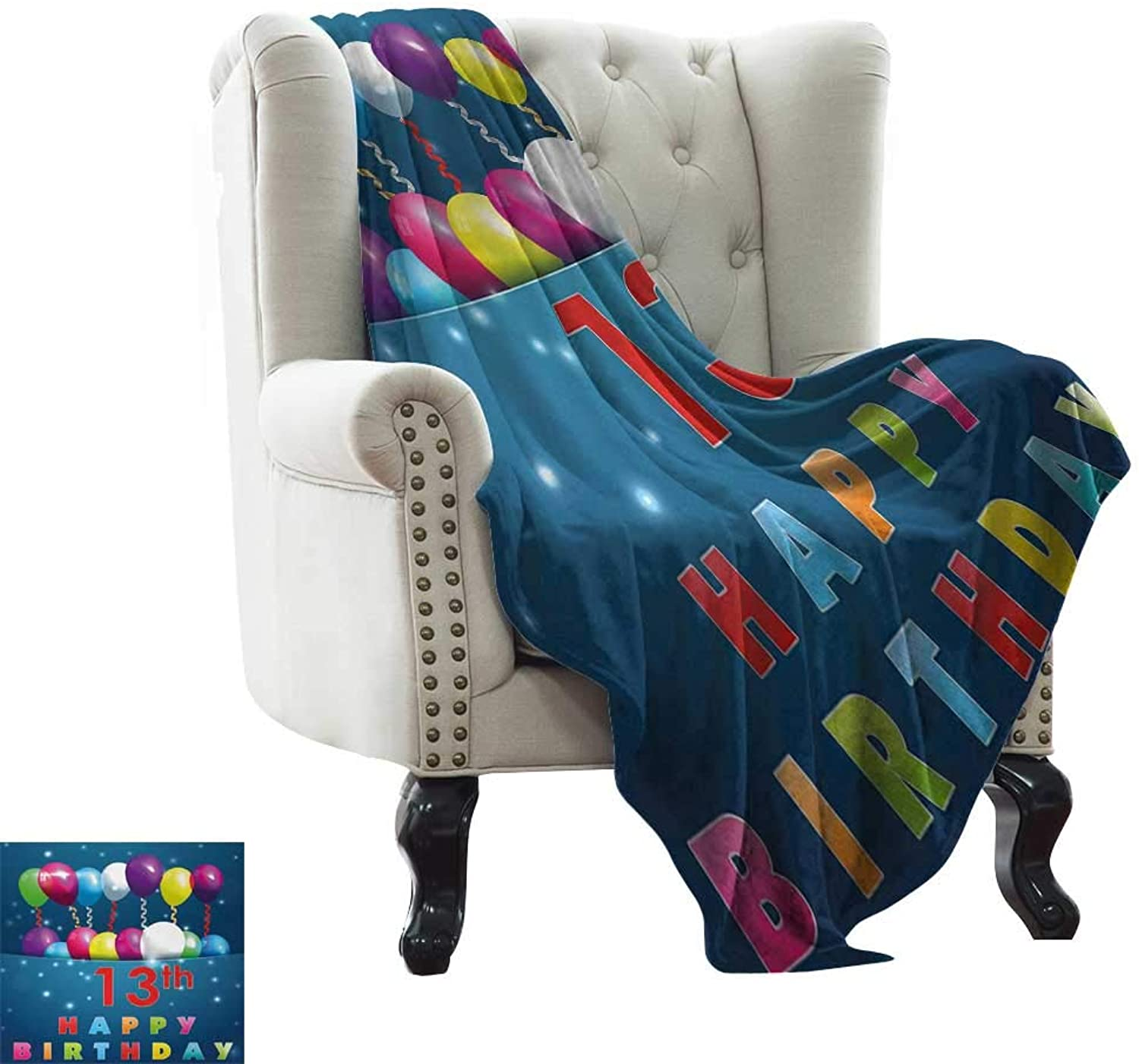 BelleAckerman Travel Throw Blanket 13th Birthday,Joyful Surprise Event Teen Celebration Party with Balloons Ribbons Stars,Multicolor for Bed & Couch Sofa Easy Care 50 x60