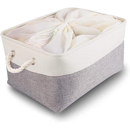 Mangata Boite de Rangement Tissu Grand, Panier Rangement rectangulaire Dressing avec poignée pour Jouets, Armoire (Pliable,XXL, Gris Blanc)