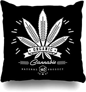 AlliuCoo Throw Pillow Covers Illegal Green Oil Marijuana Cannabis Graphics Abstract Badge Hemp Medicinal Label Emblem Stamp Design Home Decor Zippered Cushion Case Square Size 20