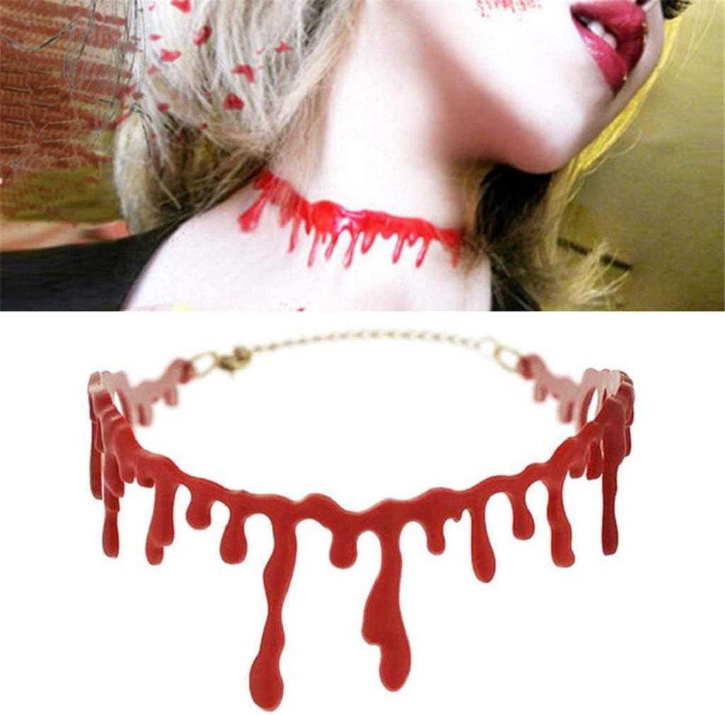 sisileeda Horror Blood Red Joker Choker Necklace Halloween Frankenstein Punk Rock Deathrock for Women Girl Halloween Necklace Decoration