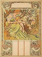 Ages of Man カレンダー (子供時代) ビンテージポスター (アーティスト: Mucha, Alphonse) フランス c. 1899 16 x 24 Giclee Print LANT-61603-16x24