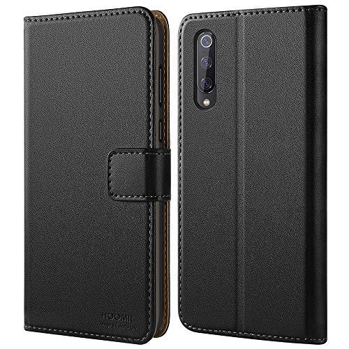 HOOMIL Handyhülle für Xiaomi Mi 9 Hülle, Premium PU Leder Flip Schutzhülle für Xiaomi Mi 9 Tasche, Schwarz
