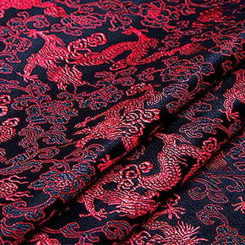 MUYUNXI Tela De Raso Forro De Tela para Vestidos De Novias Fundas Artesanías Vestidos Blusas Ropa Interior 75 Cm De Ancho Vendido por Metro(Color:Rojo Negro)