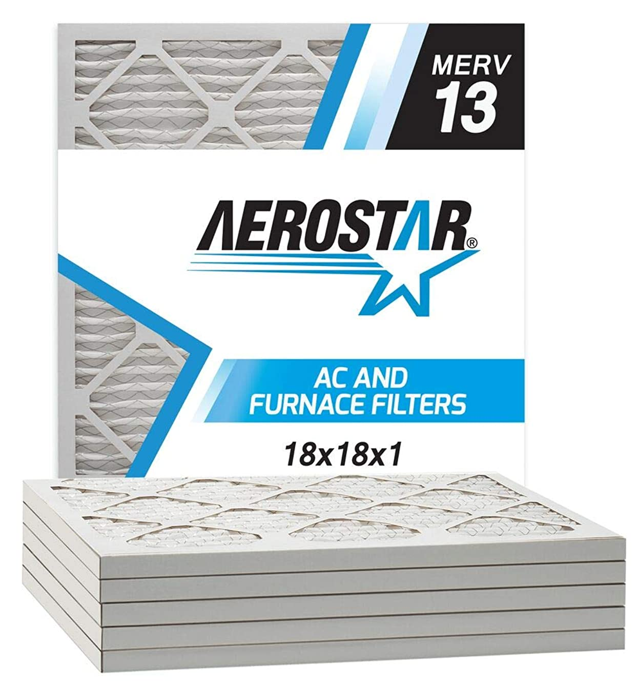 Aerostar 18x18x1 MERV 13 Pleated Air Filter, Made in the USA, 6-Pack