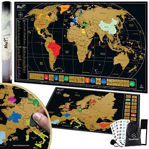 TooPopz Mappa del Mondo da Grattare XXL + Omaggio Cartina Geografica Europa da Grattare | Design Italiano, Mappamondo Poster da Parete Grande, Planisfero Scratch off Map, Idee Regalo per Viaggiatori