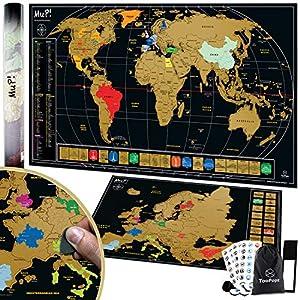 TooPopz Mapa Mundi Rascar XXL 84x44cm Y Mapa de Europa 46x33cm - Dos Poster Mapa Mundi para Pared Grande Con Capa Dorada - Incluye Accesorios - Inspiración De Viajes Y Para Aprender