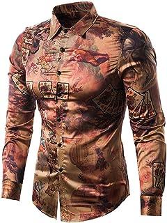 Yffksse Versaces Camisa Hombres Casual Ajustado Retro Póker Personaje Impresión Botón Abajo Vestido Camisetas,S
