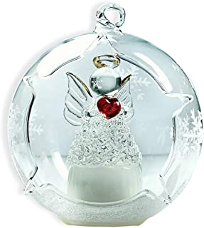 BANBERRY DESIGNS LED Glass Globe Christmas Ornament Angel with Red Heart and Hand Painted Glittery Snowflakes - Color Changing Lights