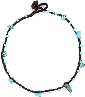 Idin Jewellery - Cavigliera fatta a mano con perline e pietre turchesi nere in cera
