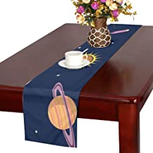 NQEONR Planets Space Space Table Runner, Kitchen Dining Table Runner 16 X 72 Inch for Dinner Parties, Events, Decor