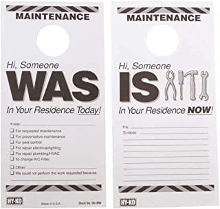 HY-KO PRODUCTS DH-MW 7 in. x 3-1/2 in. Plastic Reversible Maintenance Door Hang Tag Black Pack of 50