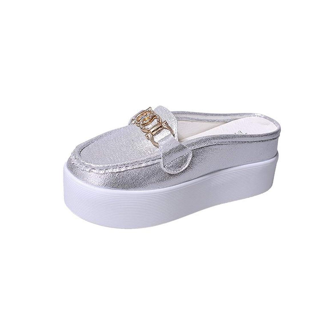 精緻化資金代わりの厚い底半スリッパ女性の春と夏Baotouのかかとのないスポンジケーキスリッパカジュアルシューズと怠惰な靴