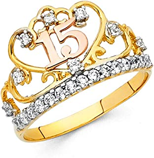 FB Jewels 14K White and Yellow Gold Two Tone Cubic Zirconia CZ Fifteen 15 Year Birthday Quinceañera Fashion Anniversary Ring