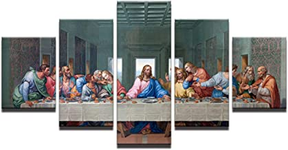 DADABOX Modular Pictures Hd Prints Canvas Jesus Paintings Wall Art Work 5 Piece Last Supper Landscape Poster Living Room H...