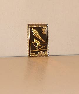 Ski Jump & Long-Distance Skiing - France 1968 - 100 Greatest Olympic Stamps (1983) - Franklin Mint - Gold on Sterling Silver Miniature