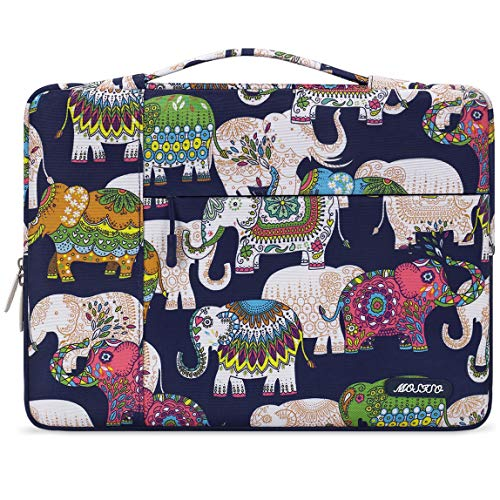 MOSISO Laptop Sleeve Compatible with 13-13.3 inch MacBook Air, MacBook Pro, Notebook Computer, Polyester Pattern Multifunctional Briefcase Carrying Bag, Elephant Navy Base
