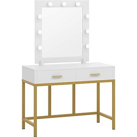 Tribesigns Vanity Table with Lighted Mirror, Makeup Vanity Dressing Table with 9 Lights and 2 Drawers for Women, Dresser Desk Vanity Set for Bedroom, Gold (White)