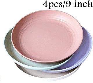 """Wheat Straw Plastic Plates Dinnerware Set/Reusable-Unbreakable Dinner Plate/ Dishwasher & Microwave Safe, BPA Free And Healthy Cereal Dishes/Kids-toddler & Adult (9"""" plate x 4pc)"""