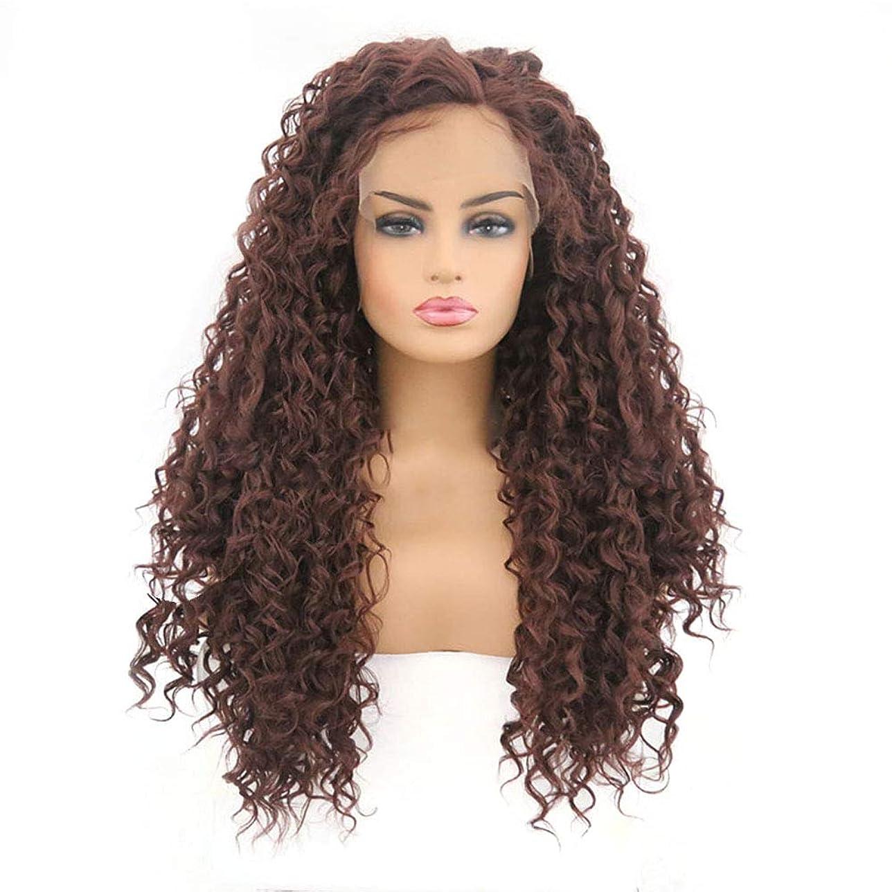 意味カフェ常習者Yrattary アフリカの小さな巻き毛のフロントレースかつら茶色の小さな波長い髪のかつら合成髪のレースのかつらロールプレイングかつら (色 : ブラウン, サイズ : 18 inches)