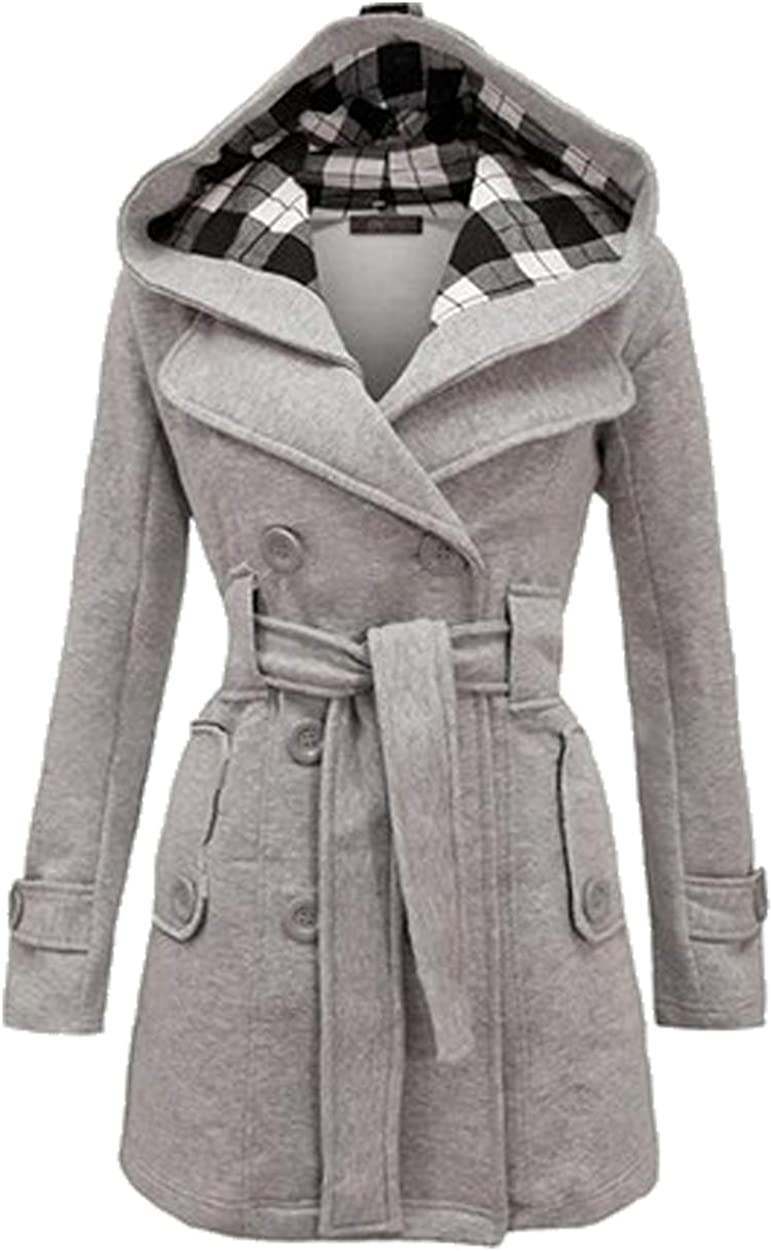 ZICUE Womens Double Breasted Pea Coat Winter Mid-Long Hooded Jackets with Belted