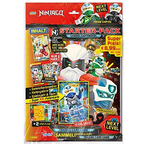LEGO Ninjago Serie V Next Level, Starter Pack raccoglitore, 1 booster, edizione limitata oro e carta XXL, 180972