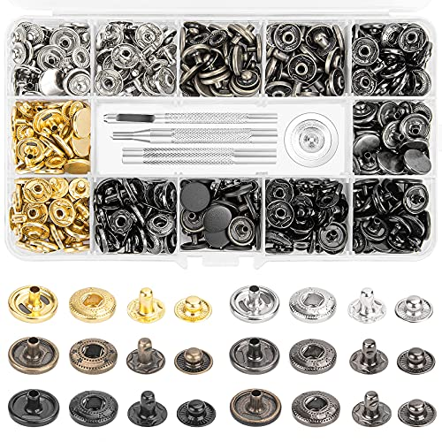120SETS Leather Snap Fasteners Kit, 0.49 Inch Diameter Metal Button Snaps Press Studs with 4 Installation Tools, 6 Color Leather Snaps for Clothes, Bracelets, Jackets, Bags, Jeans Wears