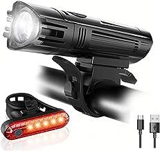 NIAGUOJI Fahrradlicht-Set, USB wiederaufladbar, wasserdicht, mit 380 lm Frontlicht und 180 lm Rücklicht 4 Leuchtmodi, Lithium-Akku, 2 USB-Kabel und rutschfeste Halterungen
