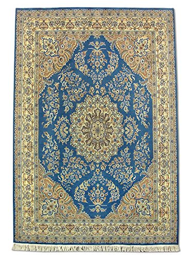 Pak Persian Rugs Handgeknüpfter Kashan Teppich, Medium Persisch Blau, Wool/Art. Silk, Medium, 184 X 271 cm