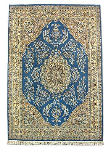 Pak Persian Rugs Handgeknüpfter Kashan Teppich, Medium Persisch Blau, Wool/Art. Silk, Medium, 184 X 271 cm