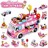 U & I Direct STEM Building Blocks Set 553 PCS Ice Cream Truck Toys for Girls, 25 Models Pink Construction Learning Building Bricks Engineering Blocks Kit for 6-12+ Year Old Kids