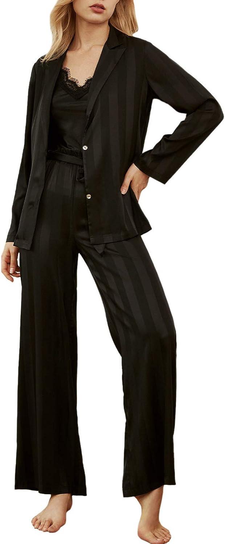 TOLENY Women's 3 Piece Slik Loungewear Lace Vest Stripes Coat Wide Leg Pants Satin Pajama Sets