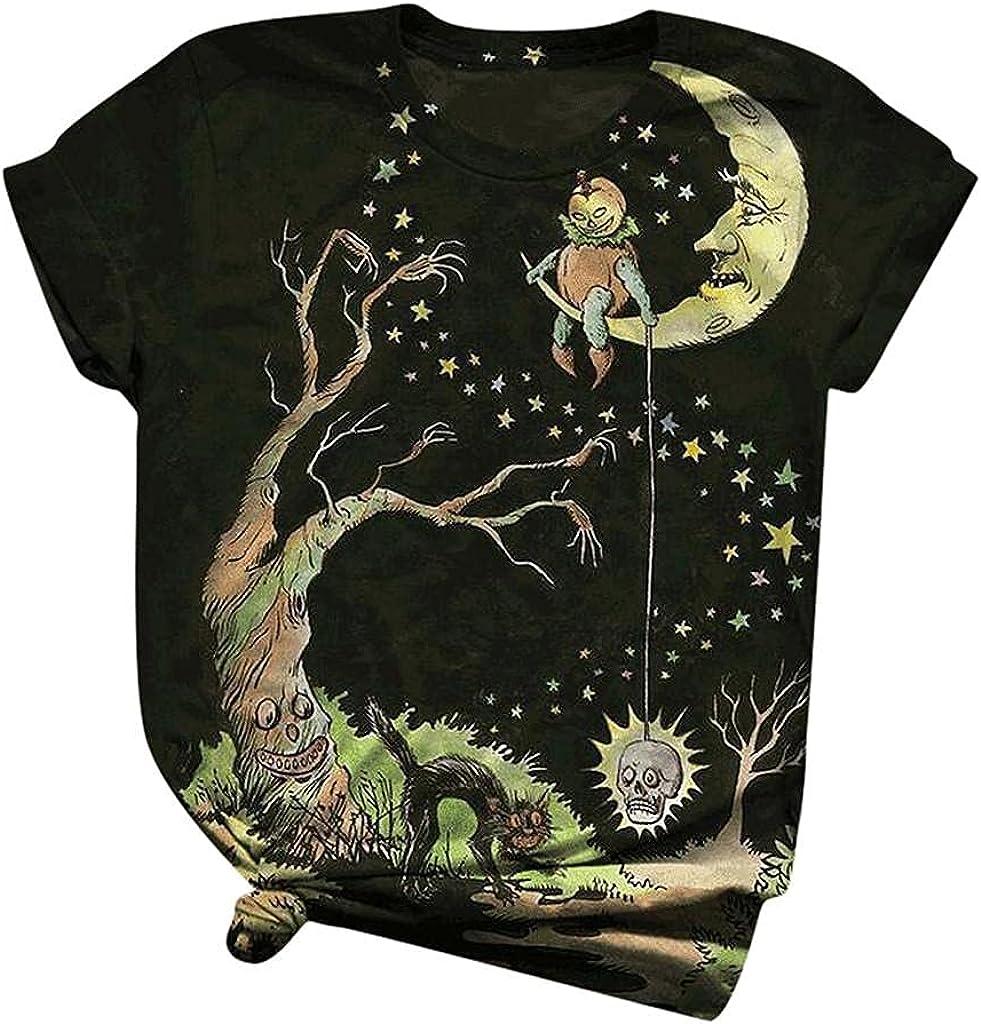 AODONG Halloween Shirts for Women, Womens Halloween Printed Shirts Short Sleeve Casual T-Shirt Summer Tee Tops Blouse
