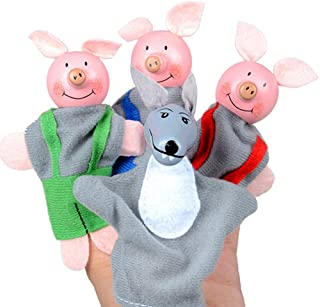 Ketteb Children's Toys Sale Online 4PCS Three Little Pigs and Wolf Finger Puppets Hand Puppets