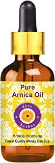 Deve Herbes Pure Arnica Oil (Arnica montana) with Glass Dropper 100% Natural Therapeutic Grade For Skin, Hair and Massage 15ml (0.50 oz)
