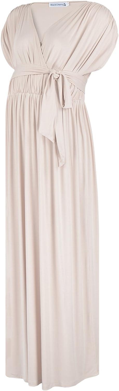 BlackCherry Women's Sleeveless Maternity Nursing Empire Waist Wrap Maxi Dress