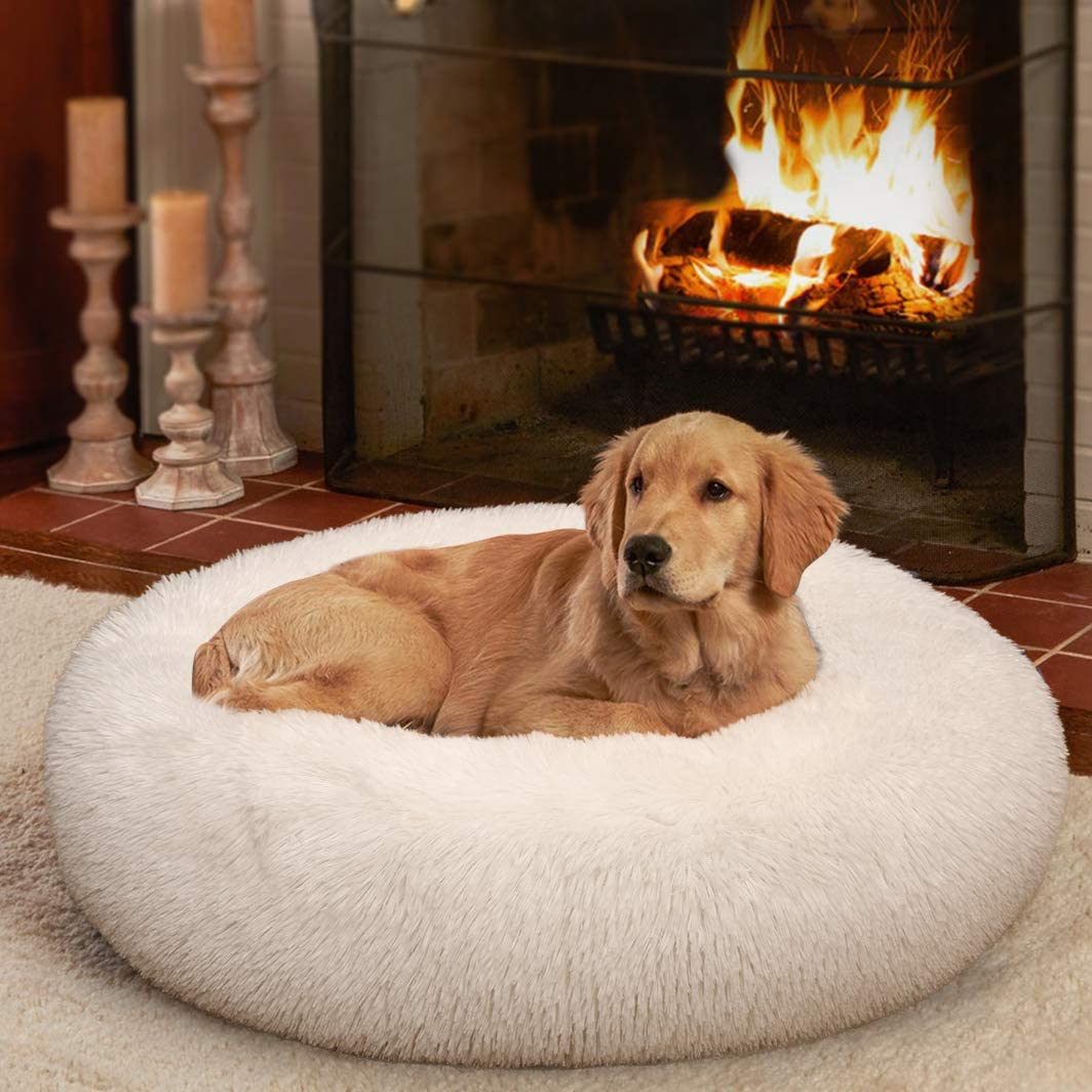 Ompaa Fluffy Round Calming Dog Beds Super-cheap for Small and 2021 spring and summer new Cats Dogs Sup