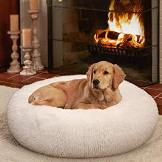 Ompaa Fluffy Round Calming Dog Beds for Small Dogs and Cats, Super Soft Plush Pet Beds Washable, Puppy & Kitten Faux Fur A...