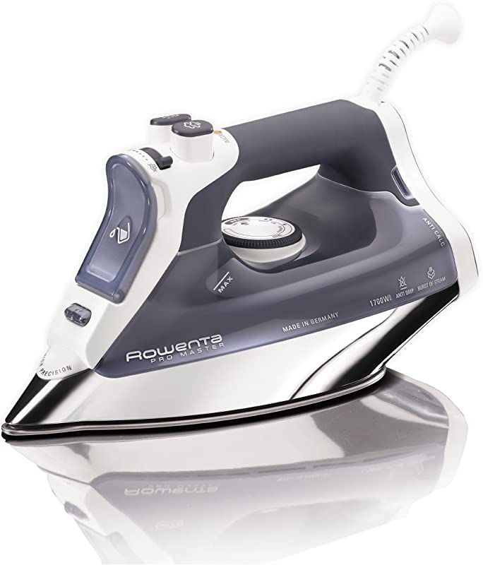 Rowenta DW8080 Professional Micro Steam Iron Stainless Steel Soleplate With Auto Off 1700 Watt 400 Hole Blue