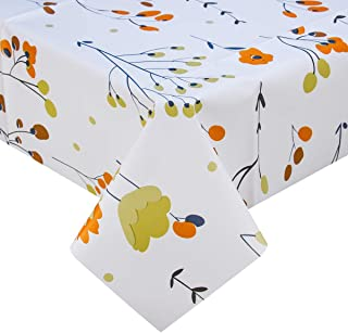 Heavy Duty Vinyl Oilcloth Tablecloth PVC Waterproof Plastic Wipeable Spillproof Peva Tablecloth for Spring Outdoor Camping Picnic Square 54x54 Inch Orange floral