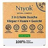 Niyok® 3 in 1 feste Dusche | festes Duschgel Shampoo Gesichtsreinigung | vegan Bio plastikfrei |...
